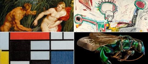 Collage aus Rubens-, Basquiat- und Mondrian-Werken sowie einer Insekten-Mikroskop-Aufnahme von Levon Biss