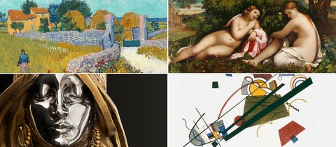 Collage aus Werken von: van Gogh, Palma il Vecchio, Mucha und Kandinsky