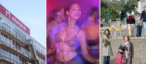 Collage, Neckermann-Gebäude, Tanzende junge Frau, Fußgängerzone