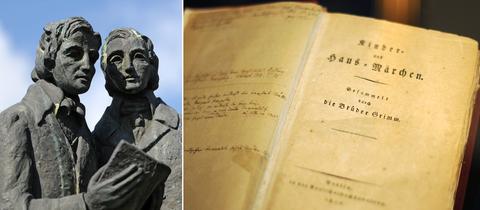 Collage: Statue der Brüder Grimm (links), Band 1 der Erstausgabe der Kinder- und Hausmärchen aus dem Jahr 1812 (rechts)