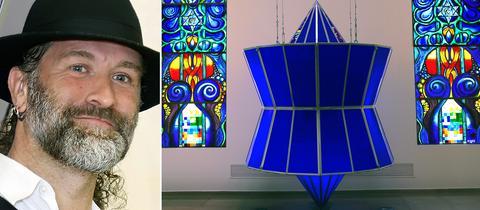 Bildkombo: Yvelle Gabriel und seine Fenster und der Thora-Schrein in der Synagoge