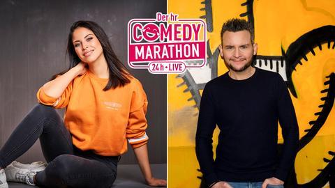 Collage:  Negah Amiri  Tobias Mann - dazwischen das Logo des Comedy Marathons