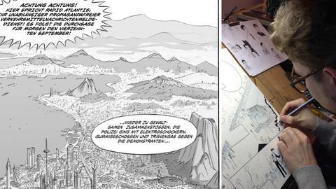 Comiczeichner von Wolzogen bei der Arbeit