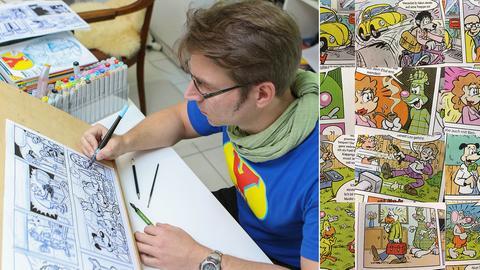 Comiczeichner / Comic (Montage)