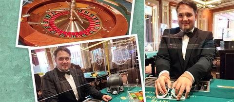 Collage: Croupier Ingmar Heipel, Roulette-Tisch