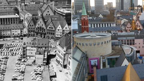 Collage: Blick vom Dom auf den Römerberg in Frankfurt, links 1961, rechts 2018