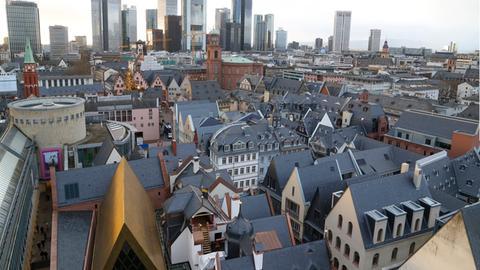 Blick vom Dom auf die Neue Altstadt in Frankfurt