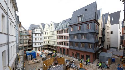 Blick auf den Hühnermarkt in Frankfurt während der Bauzeit 2017