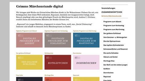 Screenshot der Homepage der Grimmwelt in Kassel mit digitalen Angeboten.