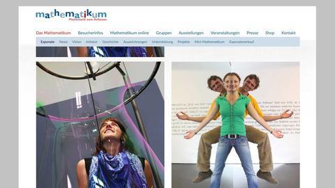 """Screenshot der Webseite des Mathematikums in Gießen - ein Museum für Mathematik """"zum Anfassen""""."""