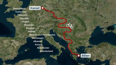 documenta -Tour Karte mit Rad