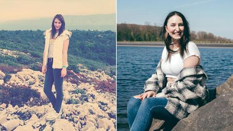 Zwei Portraits von Celine nebeneinander - damals und heute.