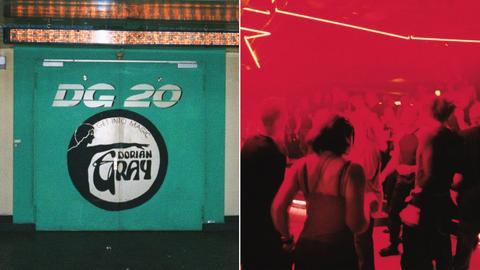 Collage: Eingangstür des Dorian Gray, Tanzende in der Diskothek
