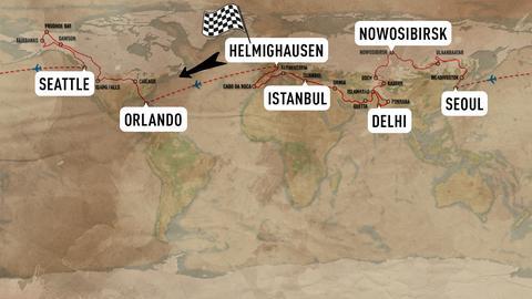Welkarte, auf der die Route von Deutschland über die USA, Russland und die Türkei markiert ist