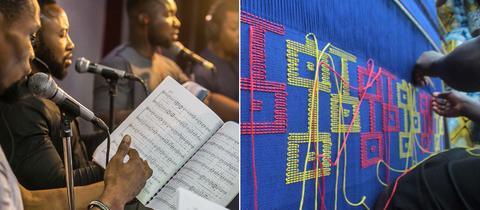 Eine Kombination aus zwei Fotos: auf dem linken sind Musiker beim Musizieren zu sehen, auf dem rechten sind Hände zu sehen, wie sie eine gelb-rote Stickerei auf einem blauen Stoff anfertigen.