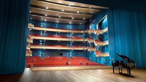 So könnte der Ballsaal in einem Neubau der Oper Frankfurt aussehen.