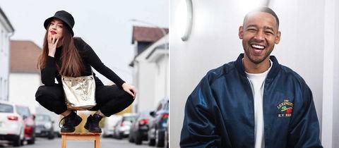 Portraits von zwei jungen Comedians: links Parshad Esmaeili, rechts Bruno Banarby