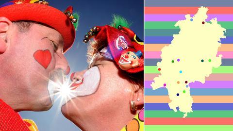 Die Bildkombination zeigt ein Foto mit zwei sich küssenden Narren und eine Karte Hessens mit Orten, wo Umzüge stattfinden.