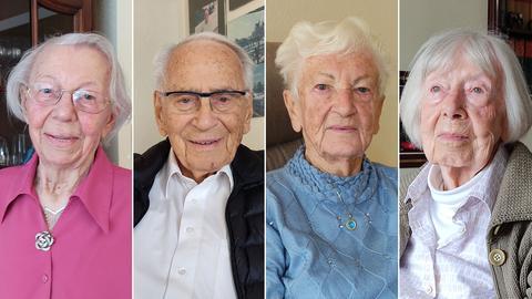 Collage von vier Senioren.
