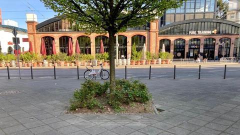 Auf dem Adlhochplatz in Frankfurt-Sachsenhausen standen bis vor zwei Jahren mehrere Bänke.