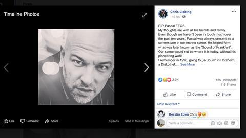 Techno-DJ Chris Liebing bekundet auf Facebook seine Trauer nach dem Tod des DJs Pascal FEOS