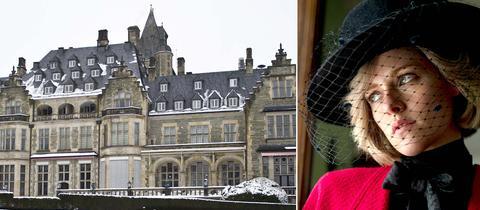 Kristen Stewart als Lady Di und Ansicht des Schlosshotel Kronberg