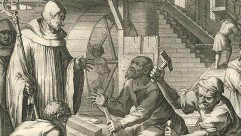 Abt Eigil überwacht den Bau der Klosterkirche, Kuperstich 1615