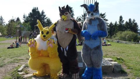 Gruppenbild mit drei Furrys