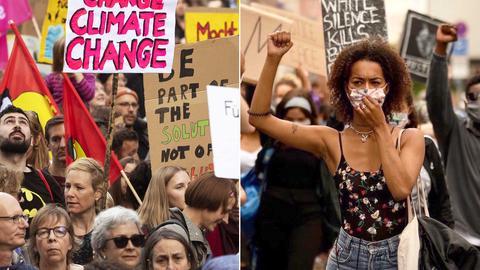 """Fotokombination aus einem Foto einer"""" Fridays for Future""""-Demo und einer """"Black Lives Matter"""