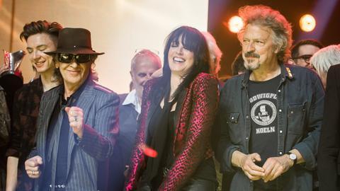 Udo Lindenberg (l.), Nena und Wolfgang Niedecken in der Festhalle in Frankfurt
