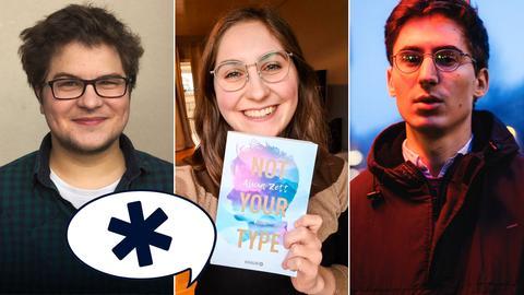 Collage drei Autoren, Sprechblase mit Genderstern