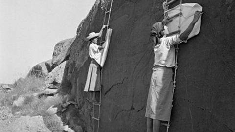 Karin Hissink: Elisabeth Pauli und Katharina Marr beim Kopieren der großen Elefantengruppe, Richa/Aflou, Algerien, 1934/35