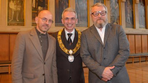 DJ Sven Väth, Oberbürgermeister Peter Feldmann und Künstler Tobias Rehberger