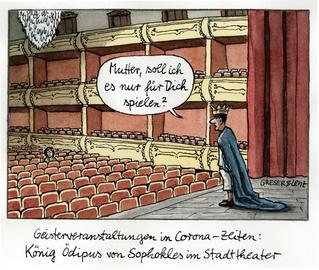 Schauspieler auf der Bühne sagt zu der einzigen Zuschauerin im Publikum: Mutter, soll ich es nur für dich spielen?
