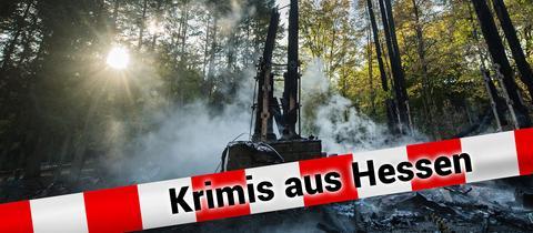 Schrift vor abgebranntem Frankfurter Goetheturm