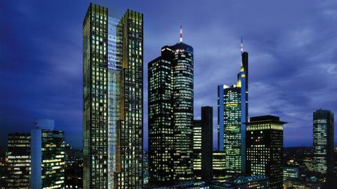 So soll das neue Hochhaus (links neben dem bestehenden Helaba-Turm) aussehen.