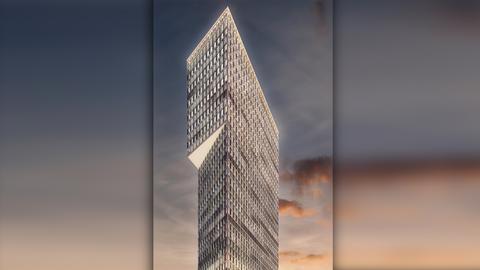 """So soll der neue Hotel-Büro-Turm """"One"""" in Frankfurt aussehen."""