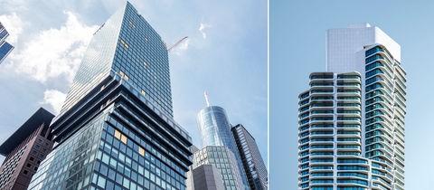 """Zwei Fotos der Hochhäuser """"OmniTurm"""" und  """"Grand Tower Frankfurt""""."""