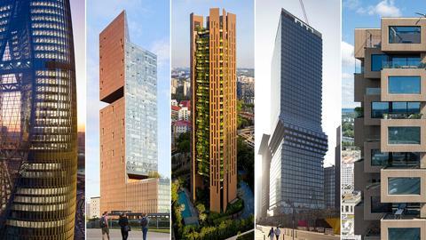 Fünf Fotos der Hochhäuser von Zaha Hadid Architects, Skidmore Owings Merrill, Heatherwick Studio, Bjarke Ingels Gropu und OMA, die im Finale um den Preis ringen.