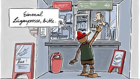"""Holtschulte-Cartoon Pinocchio am Kiosk: """"Einmal Lügenpresse, bitte."""""""