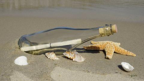Flaschenpost am Strand umgeben von Muscheln