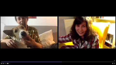 Anja Rützel und Jasmin Schreiber bei einer Online-Lesung
