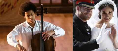 Bildkombo: Cellist Sheku Kanneh-Mason/ Prinz Harry und Meghan Markle als Hochzeitspaar