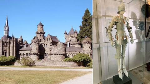 Kombination aus zwei Fotos. Links, die Löwenburg im Kasseler Bergpark in der Außenansicht und rechts der Weiße Ritter in der Ausstellungsvitrine.