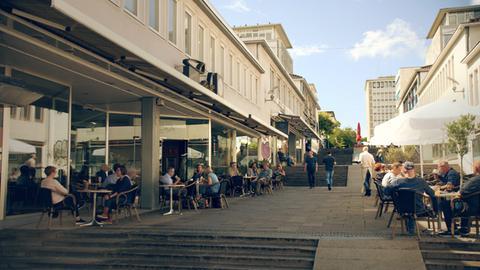 Straßencafé auf der Treppenstraße in Kassel