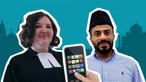 Pfarrerin und Imam mit Smartphone in der Mitte