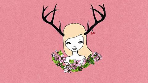 Logo vom Kling-Festival Hohenroda - Mädchen mit Blumenranke und Geweih