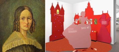 Bildkombination aus einem historischen Portrait von Marie Hassenpflug und einem Computerbild, das einen Innenraum des Enwurfs des Medienzentrums zeigt.