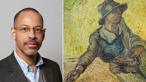 "Bildkombo: rechts Kunsthistoriker Henry Keazor, links van Goghs Werk ""Der Sämann"""