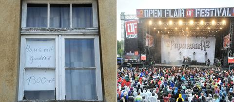 Bildkombo: Leer stehendes Haus, Open Flair Festival